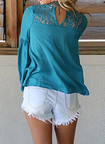 Achicgirl mujer encaje azul hacia floral de fuera de larga con manga Blusa ahueca de TUw4qfRnx