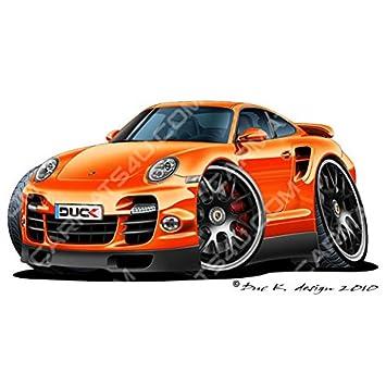 Porsche 911 Turbo S - Adhesivo para pared (vinilo, color naranja, naranja, Large (1200mm): Amazon.es: Coche y moto