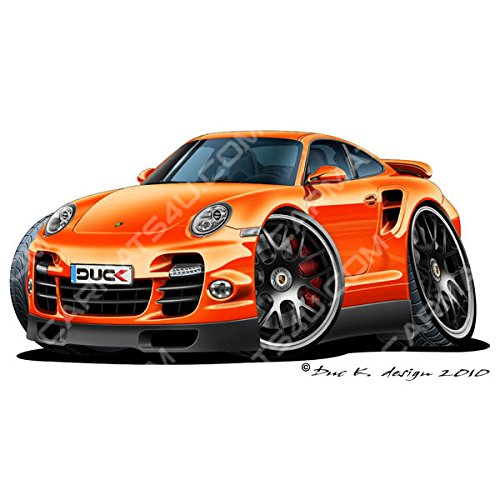 Porsche 911 Turbo S - Adhesivo para pared (vinilo, color naranja, naranja, Large (1200mm): Amazon.es: Coche y moto