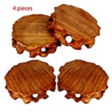 4 PCS Drink Wood Coasters, Decorative Wooden Base Pad for Tea Cups Coffee Mugs Beer Cans Bar Tumblers Water Glass, 2.8 Inch Pedestal Stand for Vase Furnishing Souvenir and Pan King, Plants