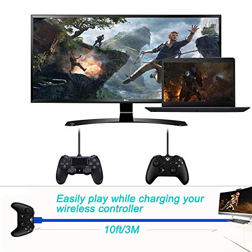 2 Pack 10Ft PS4 Controller Charging Cable for Xbox One Slim/Elite/X Controller,Sony Playstation 4 PS4 Slim/Pro,Dualshock 4,PS4 Vita,Charge and Play,Long Micro USB Fast Charger Data Sync Cord Wire