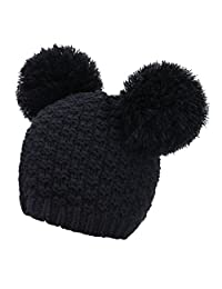 Women's Winter Chunky Knit Beanie Hat w/ Double Pompom Ears
