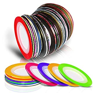 Acrylic nail kit for kids do it yourselfore rolls striping tapes teenitor nails art decoration stickers lines kits with 32 multicolor nail tape solutioingenieria Images