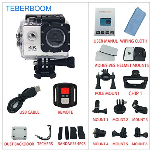 Cheap TEBERBOOM Sport Action Camera, Waterproof Sport Camera S2R WiFi 4k Ultra HD 170 Degree Wide View Angle,100ft Underwater and Mounting Accessories Kit with Wireless Control (White)