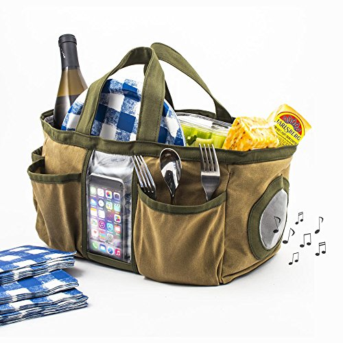 G.U.S. Bluetooth Speaker Tote Bag for Outdoor Activities, Tech bag for Picnic, Beach, Camping, Cleaning, Tailgating, Built-in Smartphone Protector - Logitech G 40