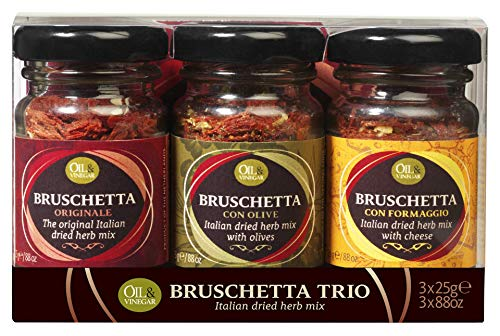 OIL & VINEGAR Bruschetta Seasoning Herb Mix, Variety Pack (0.88oz. Jars x 3) (Olive, Formaggio, Original)