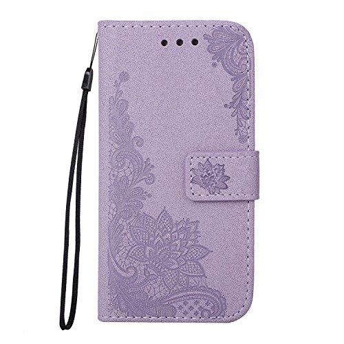 SRY-Caso sencillo Con la cuerda, la ranura para tarjeta y la caja de cuero de la PU del monedero y la contraportada de TPU Teléfono práctico clásico Shell para la galaxia J510 de Samsung Protección re Purple