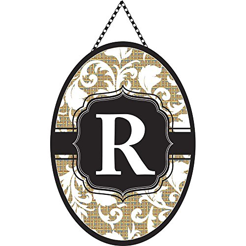 Cheap Monogram Letter R Shield with White Filigree on Burlap 18 x 13 Oval Chain Rope Door Banner