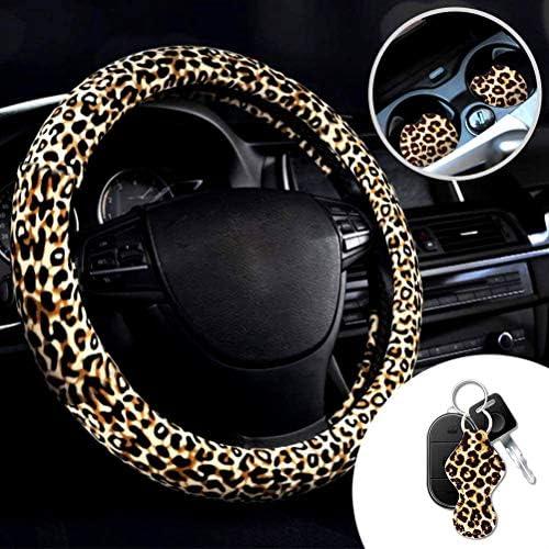 BMAKA Direcci/ón Leopardo Cubiertas de la Rueda de direcci/ón Conjunto Leopardo de la Cubierta de Rueda con Llavero Leopard y Leopard Posavasos Cubierta del Volante del Coche
