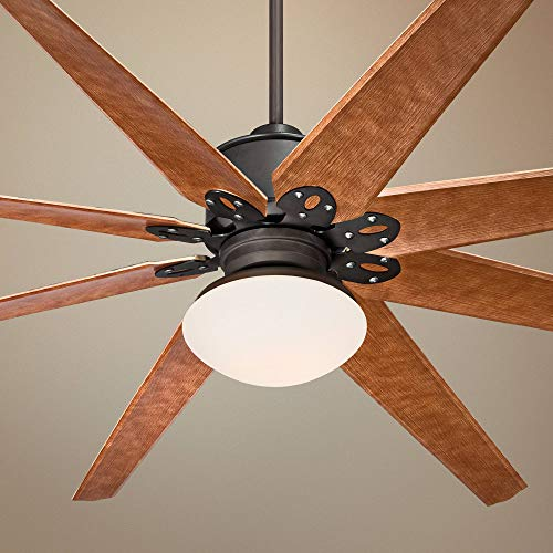 """72"""" Predator Outdoor Ceiling Fan with Light LED Remote Control English Bronze Cherry Blades Opal Frosted Glass Damp Rated for Patio Porch - Casa Vieja Lamps Plus"""