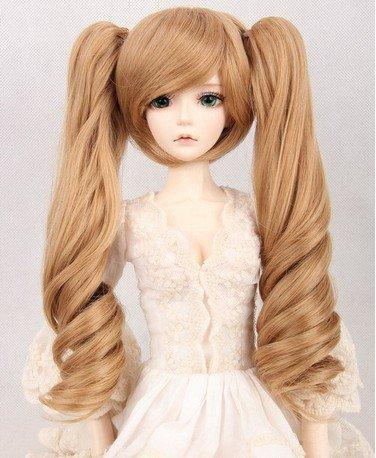 (18cm) 1/4 BJD Doll MSD Fur Wig Dollfie / Light-Brown 2 Long Curl Ponytails Hair / (Doll Fur Wig)