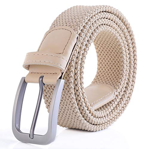 - Weifert Belt for Men Braided Stretch Belt/No Holes Elastic Fabric Woven Belts (40-42
