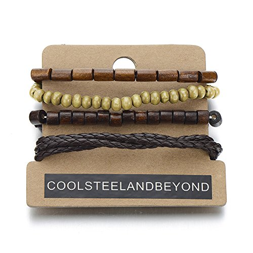 - COOLSTEELANDBEYOND Mix of 4 Brown Wrap Bracelets for Men and Women, Multi-Strand Wood Beads Leather Wristbands
