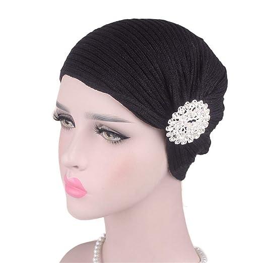 241c70dfa70 Amazon.com  Qhome Autumn Winter Ladies Woolen Caps Alloy Drill Headband   Clothing