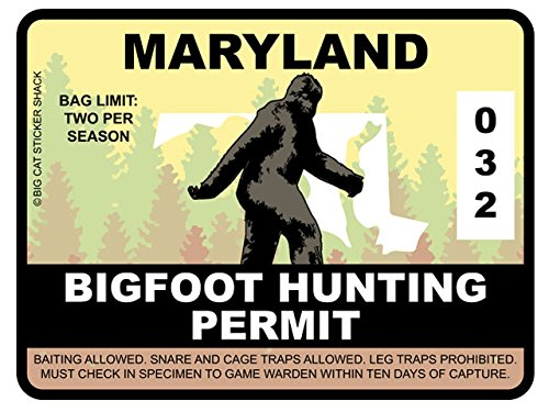 Bigfoot Hunting Permit - MARYLAND (Bumper Sticker)