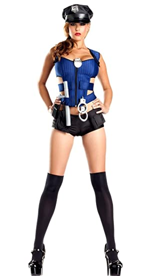 Nuevas señoras azul y negro Policía con cremallera frontal de ...