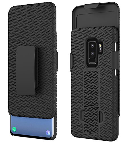 Ailiber Galaxy S9+ Plus Slim Armor Holster Clip Case, Combo Dual Layer Shock Proof Screen Shell Portable Protector, Rotate Belt Clip Built-in Kickstand for Samsung Galaxy S9+Plus (6.2 inch) – Black