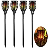 Sumaote Solar Torch Lights for Halloween Christmas, Garden Path Light 96 LED Dancing Flame Lighting Flickering Tiki Torch Waterproof Wireless Landscape Lights Dusk to Dawn Auto On/Off, 4 Pack