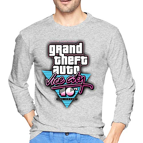 Mens Long T-Shirt Round Neck GTA V Grand Theft Auto Vice City Classic Cotton TEE Gray XXL (Gta Vice City Cheats Ps2 Never Die)