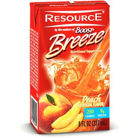 Resource Breeze, Clear liquid nutrition beverage, 27 X 8-Ounce (Peach 27 Count) (Resource Boost)