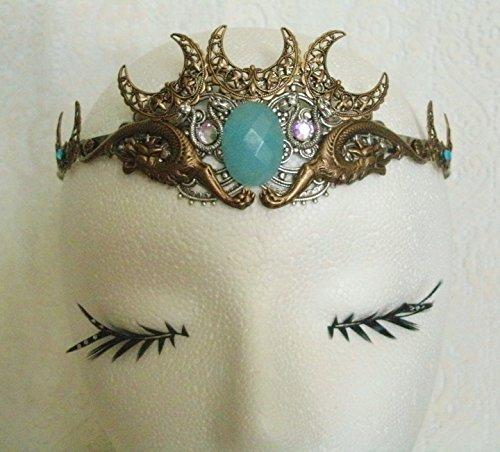 Aquamarine Dragon Circlet, handmade jewelry renaissance medieval Victorian Edwardian art nouveau fantasy tudor gothic headpiece by Sheekydoodle