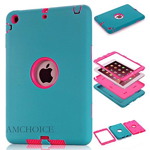 iPad Mini 3 Case,iPad Mini 2 Case, AMCHOICE(TM) Full Body Hybrid Silicone&PC 3 Layer High Impact Resistant Case For Apple iPad Mini 1//2/3 (Blue+Rose Red) [Free Stylus]