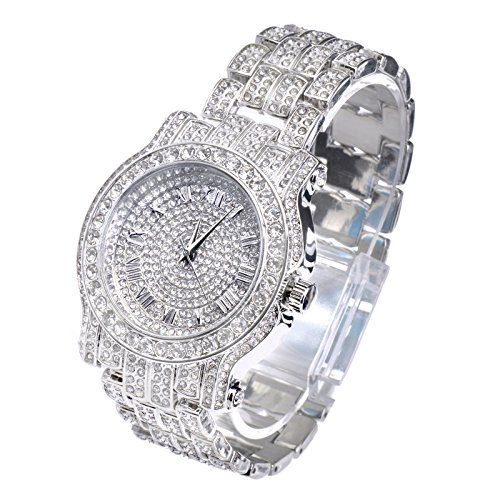 Mens Hip Hop Luxury Iced Out Techno Pave Watch Silver Tone Heavy Bezel Case Band Simulated Diamond WM 7341 S
