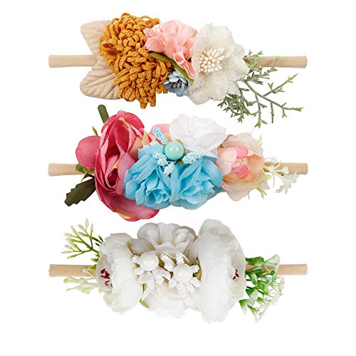 Baby Girl Floral Nylon Headband Elastic Hair Bows Flower Wraps For Newborn Infant Toddler Pack of 3