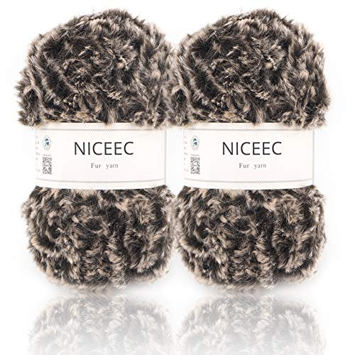 (NICEEC 2 Skeins Super Soft Fur Yarn Chunky Fluffy Faux Fur Yarn Eyelash Yarn for Crochet Knit-Total Length 2×32m(2×35yds,50g×2)-Coffee)