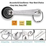 STLSTT Premium 18/8 Stainless Steel Measuring Spoons - Set of 6 for Measuring Dry and Liquid Ingredients with Ease, Durable & Dishwasher Safe