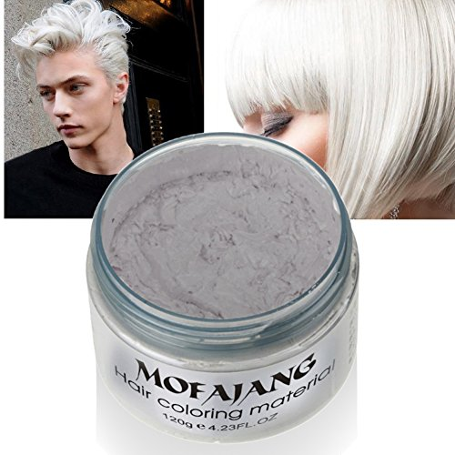 Hair Wax, Temporary White Hair Wax 4.23oz, Instant Hairstyle Mud Cream, Hair Pomades for Party, Cosplay, Nightclub, Masquerade, Halloween