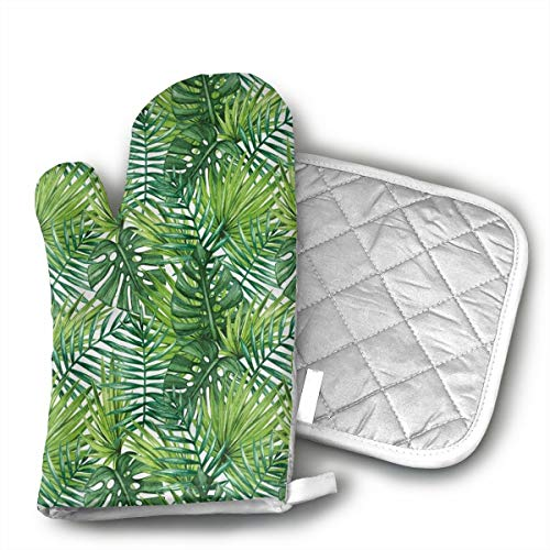 BenteLi Leaf Banana Forest Palm Tree Leaves Oven Mitts,Heat Resistant Microwave Oven Insulation Thickening Gloves Soft Inner Lining Kitchen Cooking Mittens
