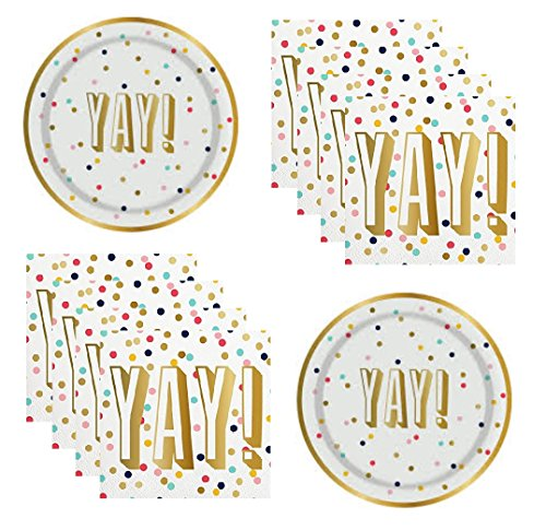 Gold Confetti Party Supplies Birthday Retirement Engagement Bridal Shower Graduation for 16 Guests Foil Plates And Napkins