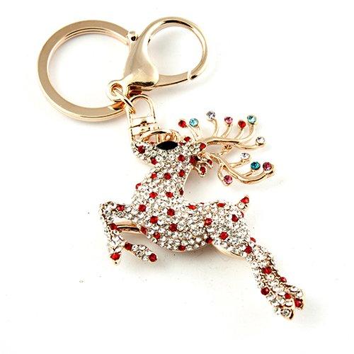 Gold Tone Reindeer (Gold Tone Rhinestone Red Deer Reindeer Hook Clip Key Ring Charm)