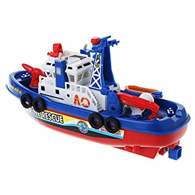 Yuanhaourty Baby Bath Toy Electric Boat Children Marine Rescue Toys Ideal Birthday Gift : Baby