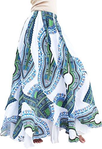 RaanPahMuang Girls Gypsy 2 Layer Printed Afrikan Dashiki Dancing Skirt, X-Small, (Kids Gypsy Skirt)