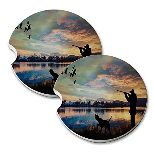 New Vibe Duck Hunting Lake - Round Absorbent Natural Stone Car Coaster Set (Set of 2) Auto Drink Coasters