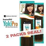 2-PACK DEALS! Human Hair Blend Weave Sensationnel Premium Too Yaki Pro (14', 1B)