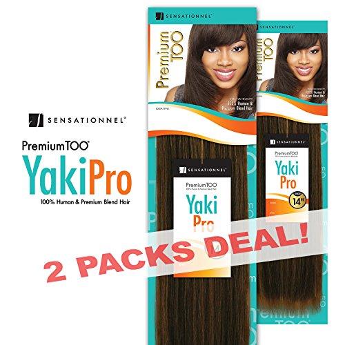 2-PACK DEALS! Human Hair Blend Weave Sensationnel Premium Too Yaki Pro (14