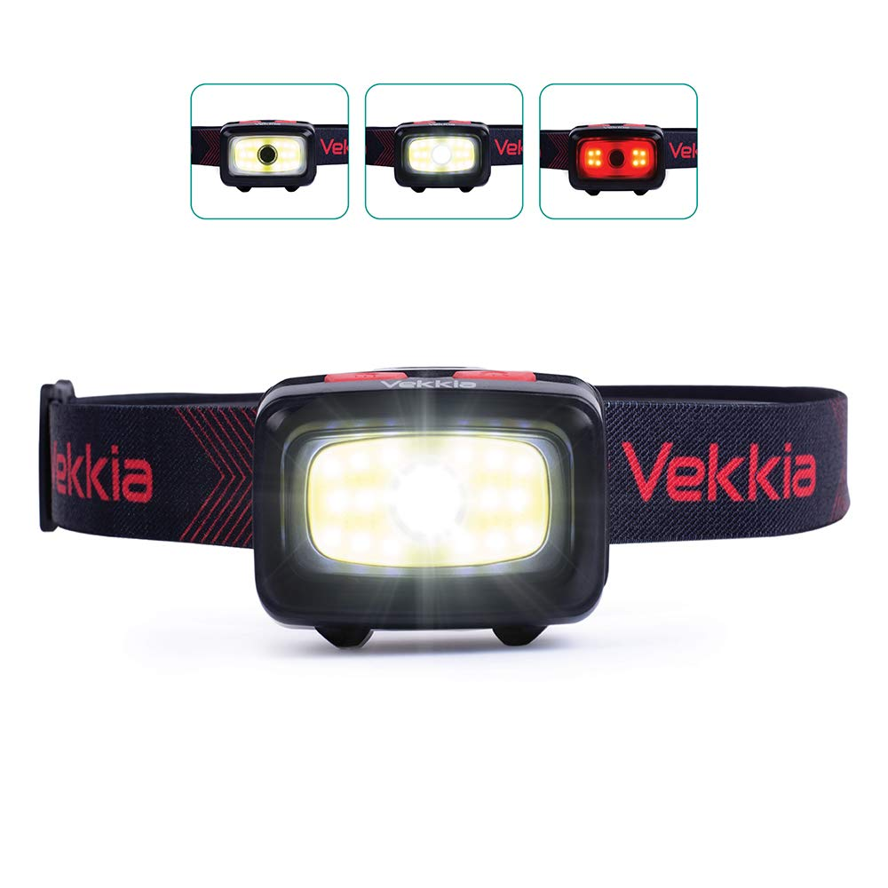 Vekkia CREE COB Black Headlamp,6 Lighting Modes,300 Lumen Camping Lights,White & Red LEDs,Adjustable,Portable,Waterproof,Great for Running Hiking Hunting Fishing Working Outdoor,3 AAA Batteries Incl.