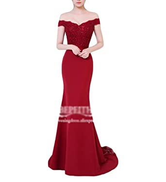 DKBridal Shoulder Beaded Evening Prom Gown Mermaid Long Bridesmaid Dress Dark Red 10