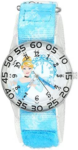 Disney Girl's 'Cinderella' Quartz Plastic and Nylon Automatic Watch, Color:Blue (Model: W002944)