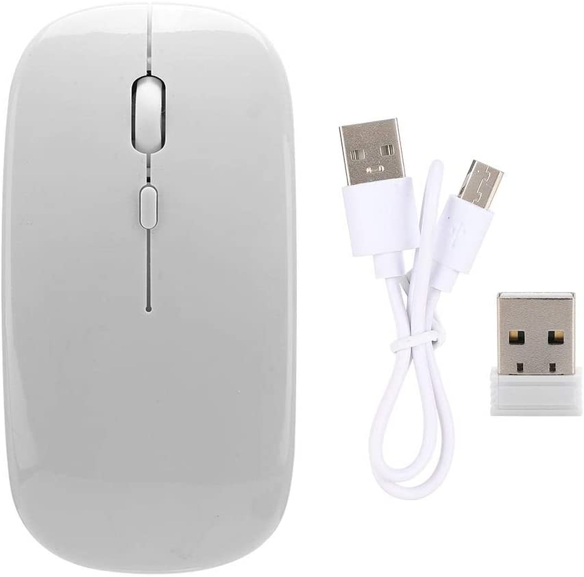 EBTOOLS Wireless Slim Mouse, 2.4GHz Dual Mode Power Saving Function Optical Mouse with USB Receiver for PC/Mac/Laptop(White)