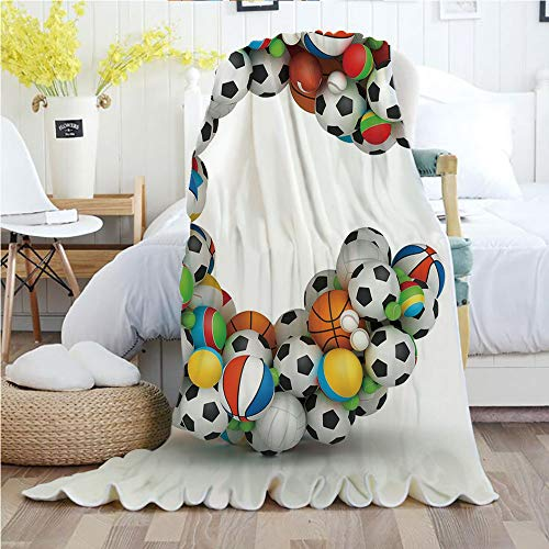 (Ylljy00 Letter C,Throw Blankets,Flannel Plush Velvety Super Soft Cozy Warm with/Sporting Goods in The Shape of Letter C Fun Activity Competitive Plays Equipment/Printed Pattern(60