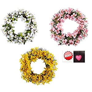 hm 24 inch Spring Floral Front Door Forsythia Flower Wreath Dogwood Wreath 117