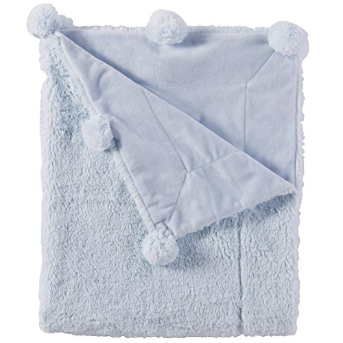Mud Pie Pom Pom Velour Baby Blanket, Blue (Poms Nursery Baby)