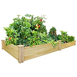 Greenes Fence Cedar Raised Garden Bed 18 Made in the USA from naturally rot- and insect-resistant cedar. The wood is 100% chemical free Boards slide into the corner posts without tools forming a secure garden frame. To install the decorative tops simply use a screw driver. Stacking 2 of these makes your garden 21 inches tall (each kit sold seperately). Each board is 11/16 inch thick and 3.5 inches in height. The routed corner posts are 2.5 inches square and come with 3.5-inch-square decorative tops