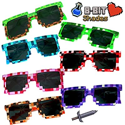 (8 Pack) Retro 8-Bit Pixel Pixelated Novelty Geek Gamer Miner Multi-Colored Shades Sunglasses - Great in Birthday Party Candy Favors Fillers Goody Loot Bags