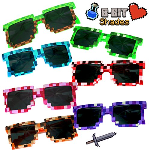 (8 Pack) Retro 8-Bit Pixel Pixelated Novelty Geek Gamer Miner Multi-Colored Shades Sunglasses - Great in Birthday Party Candy Favors Fillers Goody Loot - Sunglasses Videos