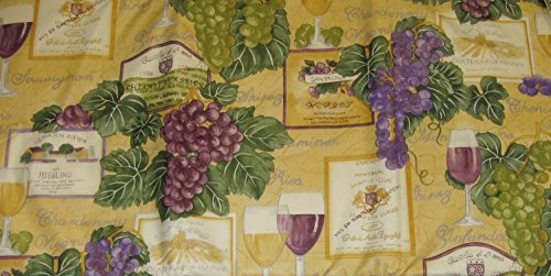 Wine Glass Grapes Vineyard Labels Vinyl Tablecloth with F...